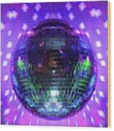 Disco Ball Purple Wood Print