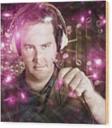 Disconnected Male Dj Holding Unplugged Audio Jack Wood Print