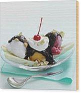 Dish Of Banana Split Sundae Wood Print by Cultura/BRETT STEVENS