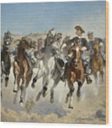 Dismounted The Fourth Troopers Moving The Led Horses Wood Print