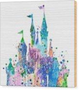 Disney Castle 2 Watercolor Print Wood Print