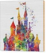 Disney Castle 6 Watercolor Print Wood Print