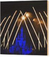 Disney Castle Fireworks Wood Print