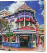Disney Clothiers Main Street Disneyland 01 Wood Print