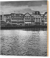 Disney World Boardwalk Gazebo Panorama Bw Wood Print
