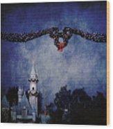 Disneyland Castle At Christmas Time Wood Print