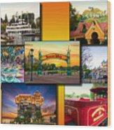 Disneyland Collage 02 Yellow Wood Print