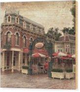 Disneyland Corner Cafe Pa Textured Wood Print