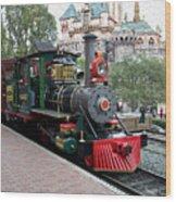 Disneyland Railroad Engine 3 With Castle Wood Print