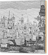 Disneyland Small World Panorama Pa Bw Wood Print