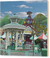 Disneyland Toontown Young Man Proposing To His Lady Panorama Wood Print