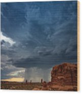 Distant Desert Storm Wood Print