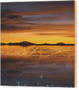 Distant Hills At Sunset Wood Print