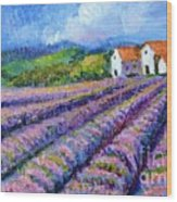 Distant  Houses And Lavender Fields Wood Print