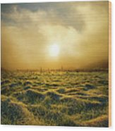 Distant Mist Horizon Wood Print