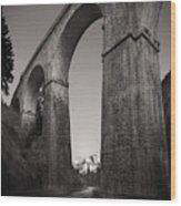 Distant Mountain And Long Bridge Wood Print