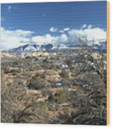 Distant Mountain Range Wood Print