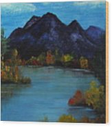 Distant Mountain View Wood Print
