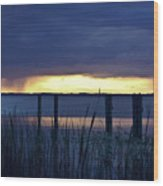 Distant Storms At Sunset Wood Print