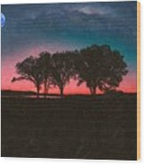 Distant Trees Under Milkyway Horizon By Adam Asar 3 Wood Print