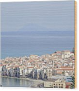 Distant View Of Cefalu Sicily Wood Print
