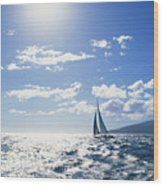 Distant View Of Sailboat Wood Print