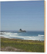 Distant Waves Wood Print