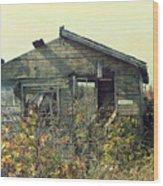 Distressed Honey House Door County Wisconsin Wood Print