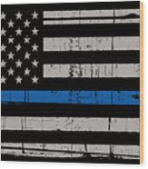 Distressed Thin Blue Line Wood Print