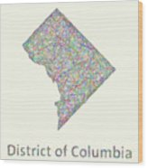 District Of Columbia Line Art Map Wood Print