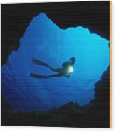 Diver At Cavern Entrance Wood Print by Dave Fleetham - Printscapes