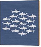 Diver Swimming With Sharks Wood Print