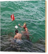 Divers At Sebastian Inlet On The Atlantic Coast Of  Florida Wood Print