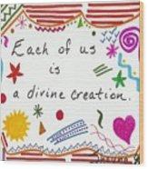 Divine Creation Doodle Quote Wood Print