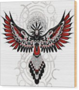Divine Crow Woman Wood Print