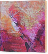 Divine Heart Abstract Orange Pink Heart Painting 8x10 Original Contemporary Modern Painting Wood Print
