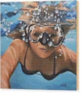 Diving Wood Print