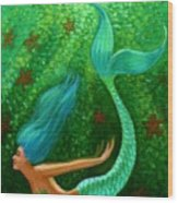 Diving Mermaid Fantasy Art Wood Print