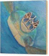 Diving Sea Turtle Wood Print