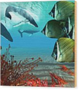 Diving Whales Wood Print