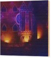 Diwali Card Lamps And Murals Blue Orange India Rajasthan 2f Wood Print