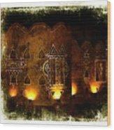 Diwali Lamps And Murals Blue City India Rajasthan 2b Wood Print
