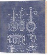 Dixie Banjolele Patent 1954 In Grunge Blue Wood Print