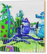 Dizzy Dragon Ride 2   Wood Print