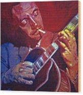 Django Sweet Lowdown Wood Print by David Lloyd Glover