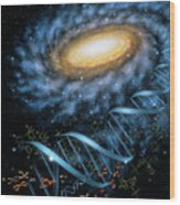 Dna Galaxy Wood Print by Lynette Cook