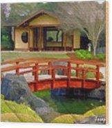 Do-00006 Cypress Bridge And Tea House Wood Print