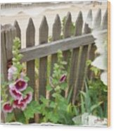 Do-00099 Fence-flowers Wood Print