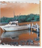 Do-00108 Boat At Sunset Wood Print