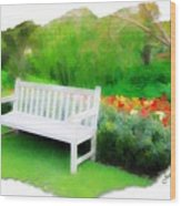 Do-00138 White Bench Wood Print